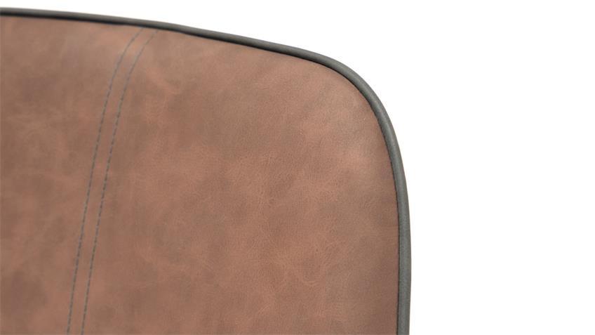 Stuhl DEANO 4er Set Vintage dunkelbraun Lederlook Metall