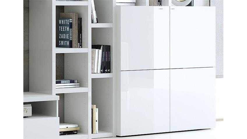 Wohnwand TORO 161 Weiß Hochglanz lackiert