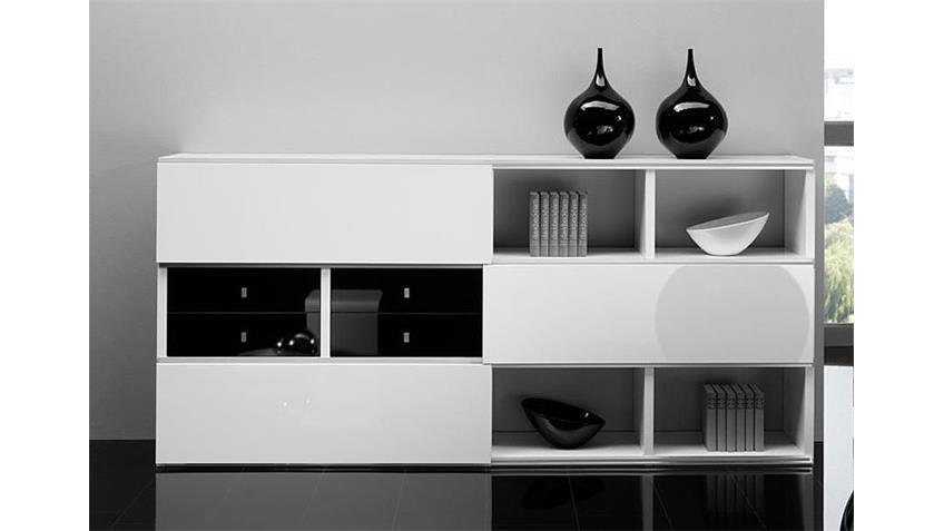 Sideboard TORO 101 Weiß und Schwarz Hochglanz lackiert