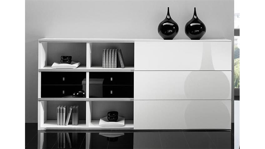 sideboard toro 101 wei und schwarz hochglanz lackiert. Black Bedroom Furniture Sets. Home Design Ideas