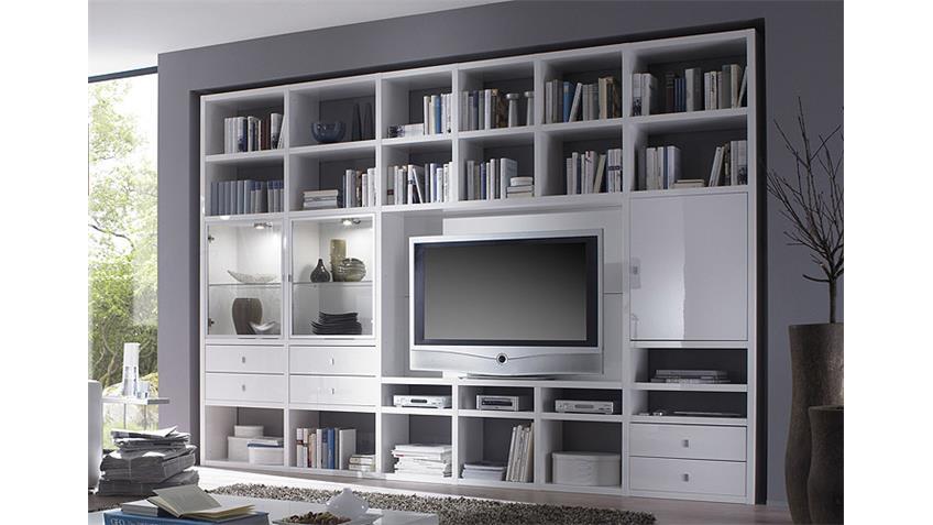 Wohnwand TORO 188 Weiß Hochglanz lackiert