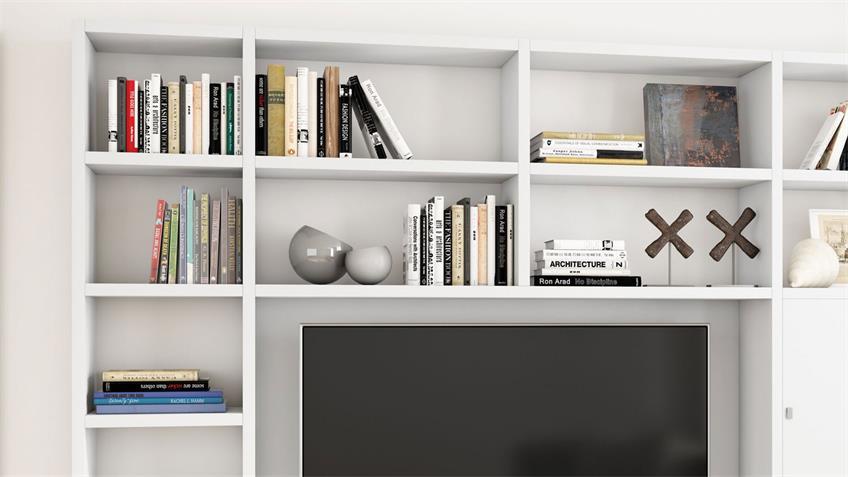 Wohnwand TORO 99 System weiß matt lackiert