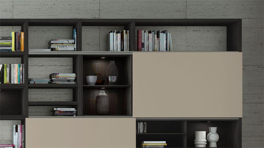 Regalwand TORO 80 schwarzbraun Eiche beige matt lackiert