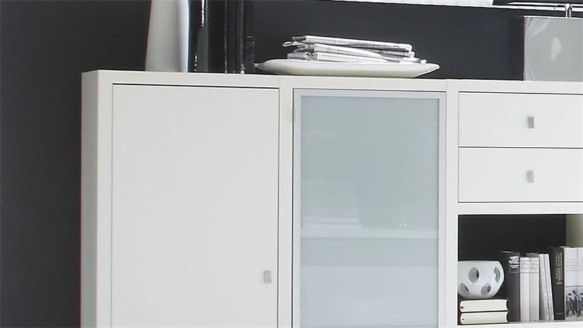 Sideboard TORO 79 weiß Hochglanz lackiert Glas satiniert