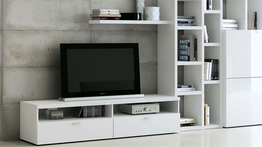 Wohnwand TORO 48 System weiß matt lackiert