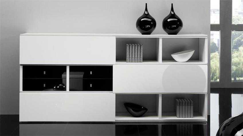 Sideboard TORO 23 System weiß schwarz Hochglanz lackiert
