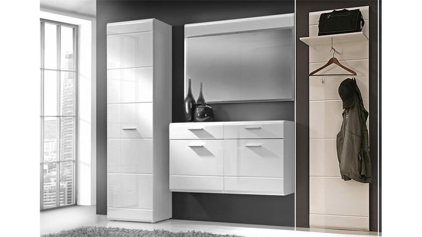 Garderobenpaneel AVEO Garderobe in MDF weiß hochglanz