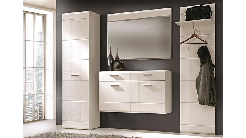 Garderobe AVEO 4-teiliges Set mit Front in weiß hochglanz