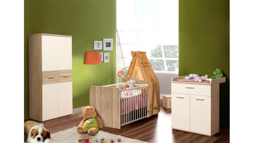 Babyzimmer WINNIE 4-teilig Sonoma Eiche und Dekor weiß