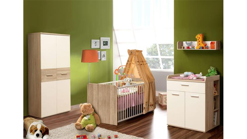 babyzimmer winnie 7 teilig sonoma eiche und dekor wei. Black Bedroom Furniture Sets. Home Design Ideas