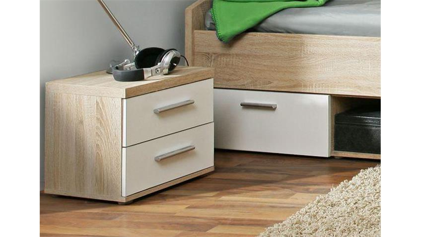 nachtkommode winnie f r jugendzimmer sonoma eiche wei. Black Bedroom Furniture Sets. Home Design Ideas