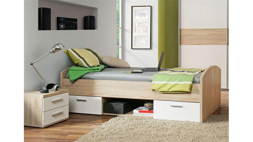 Jugendbett WINNIE Bett 90x200 cm in Sonoma Eiche und weiß