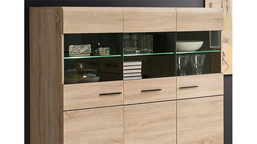 Highboard COMBINO Sonoma Denver Eiche Wenge inkl. LED