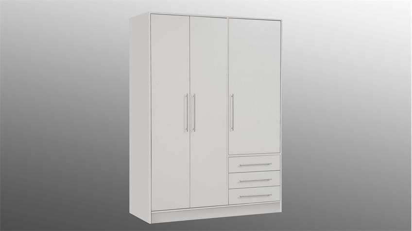 Kleiderschrank JUPITER Drehtürenschrank weiß mit 3 Schubkästen 145 cm