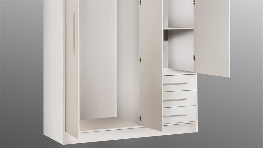Kleiderschrank JUPITER Schrank Kleiderschrank weiß 144 cm