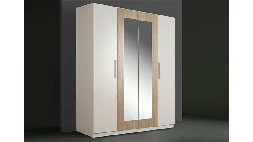 Kleiderschrank CLEO Weiß/Sonoma Eiche mit Spiegel 180 cm