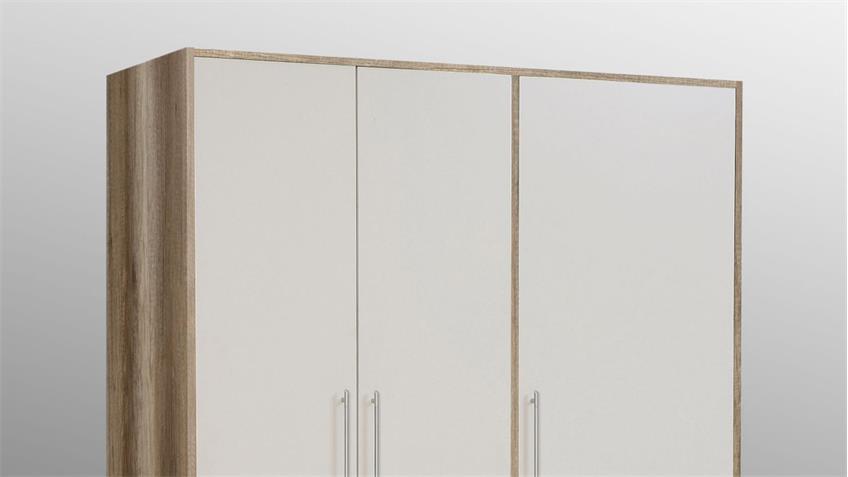 Kleiderschrank JUPITER Eiche antik und weiß mit 3 Schubkästen 145 cm