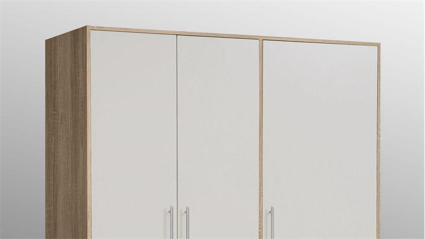 Kleiderschrank JUPITER Schrank Sonoma Eiche weiß 145 cm