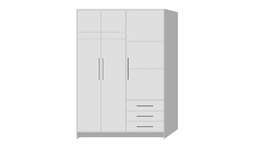 Kleiderschrank JUPITER Sonoma Eiche und weiß mit 3 Schubkästen 145 cm