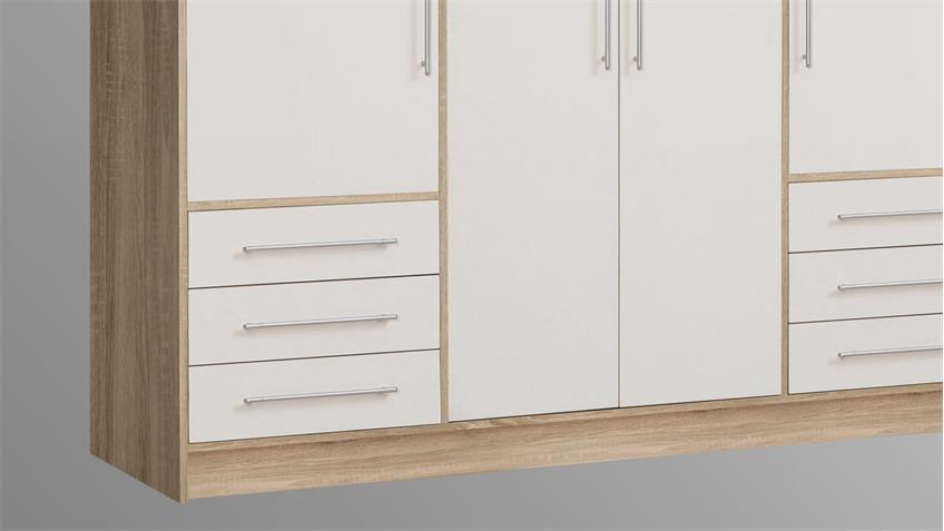 Kleiderschrank JUPITER Schrank Sonoma Eiche weiß 206 cm