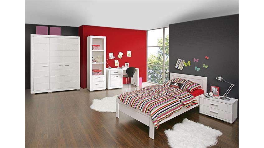 Bett SNOW Jugendzimmerbett Kinderzimmer weiß matt 90x200 cm