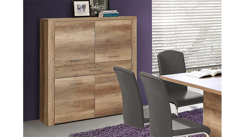 Highboard PORTLAND Kommode Schrank in Eiche Antik Dekor