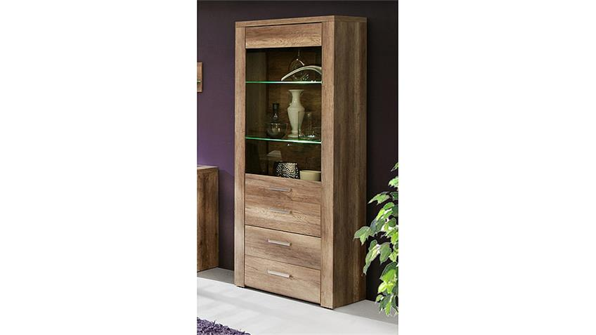 vitrine portland schrank wohnzimmer in eiche antik dekor. Black Bedroom Furniture Sets. Home Design Ideas