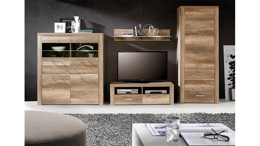 wohnwand portland wohnzimmer anbauwand in eiche antik. Black Bedroom Furniture Sets. Home Design Ideas