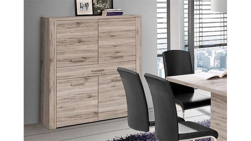 Highboard PORTLAND Kommode Schrank in Sandeiche Dekor
