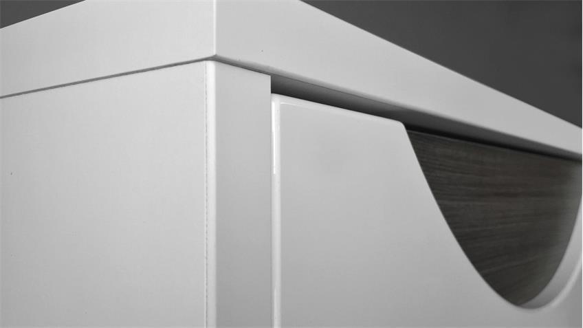Vitrine WAVE Schrank weiß Hochglanz und Eiche grau mit LED