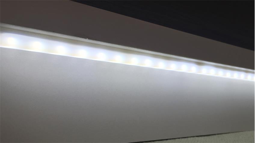 Regal WAVE Schrank in weiß Hochglanz und Eiche grau mit LED