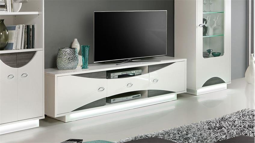 TV-Board WAVE Lowboard weiß Hochglanz und Eiche grau mit LED