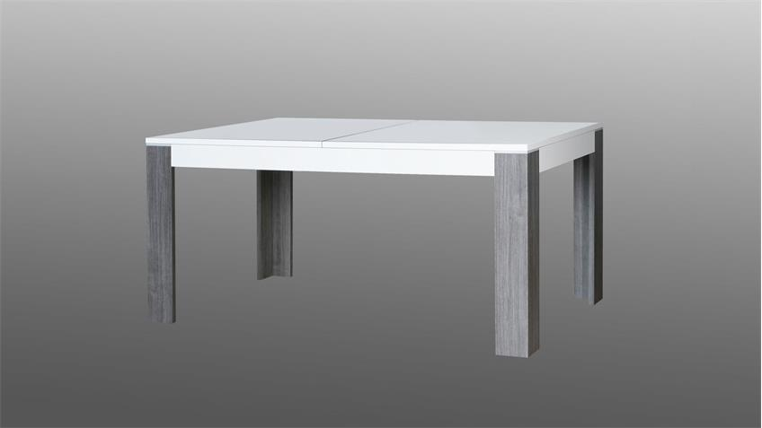 Esstisch WAVE Tisch weiß Hochglanz und Eiche grau 160-200