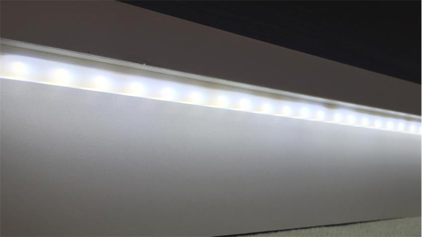 Wohnwand 1 WAVE Anbauwand weiß Hochglanz Eiche grau mit LED