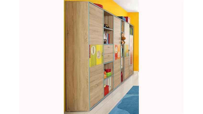 Kleiderschrank Set BOWLING Schrank in Sonoma Eiche bunt