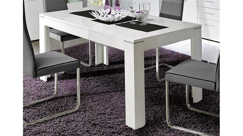 esstisch kando wei hochglanz ausziehbar 160 200x90 cm. Black Bedroom Furniture Sets. Home Design Ideas