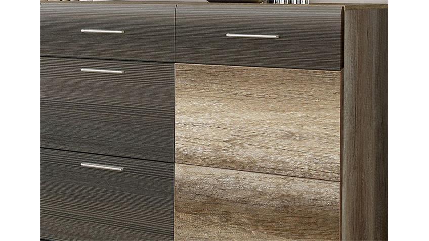 Sideboard NABOU Eiche Antik und Touchwood braun
