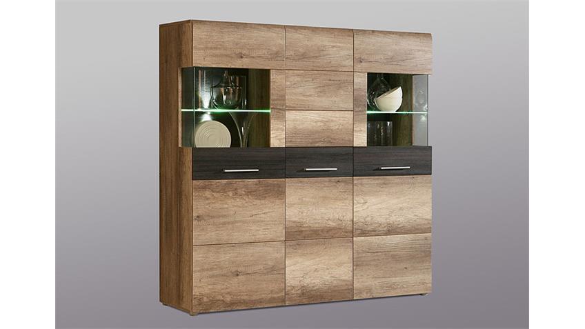 highboard nabou eiche antik und touchwood braun. Black Bedroom Furniture Sets. Home Design Ideas