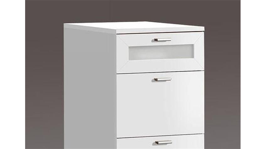 Kommode NEXUS Schubladenkommode in weiß mit Absetzungen