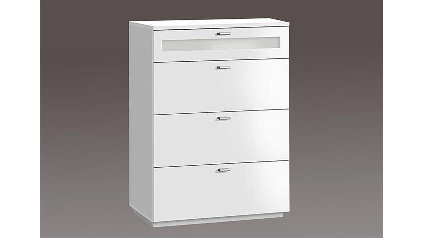 Kommode II NEXUS Schubladenkommode in weiß und Weißglas