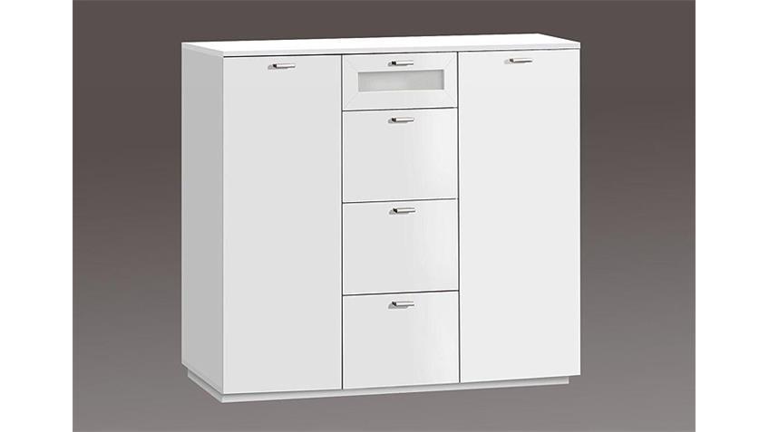 Kommode III NEXUS Sideboard in weiß und Weißglas 2 türig