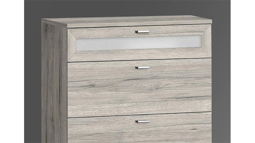 Kommode II NEXUS Schubladenkommode Sandeiche und Weißglas
