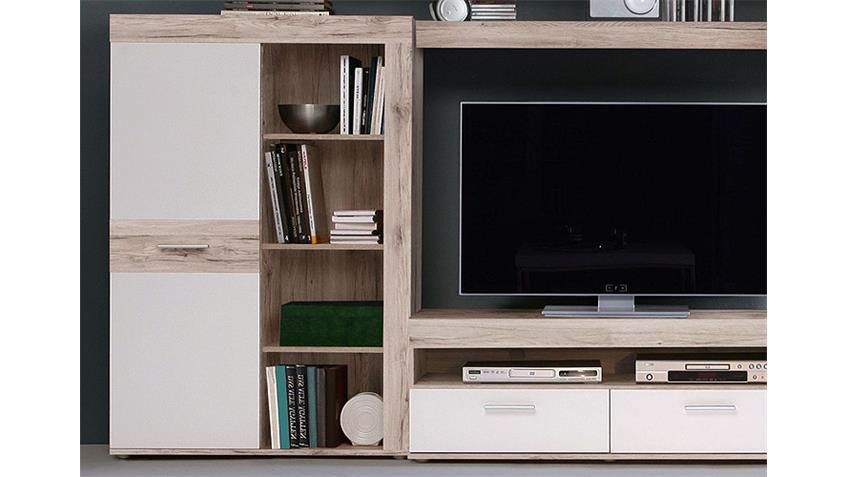 wohnwand zumba sandeiche und wei inkl led. Black Bedroom Furniture Sets. Home Design Ideas