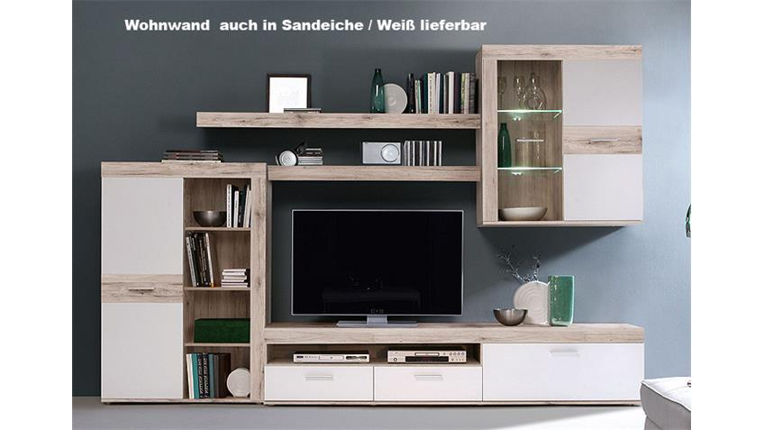 wohnwand zumba eiche antik und wei inkl led. Black Bedroom Furniture Sets. Home Design Ideas