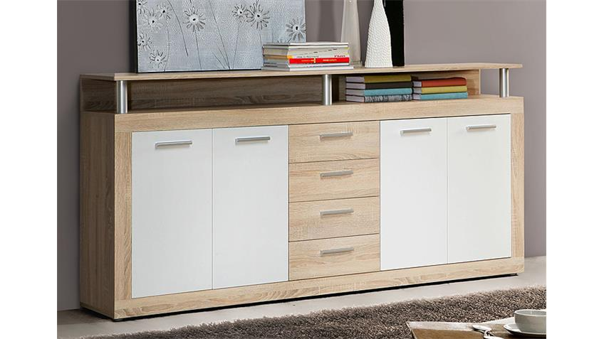 sideboard cava anrichte kommode in sonoma eiche und wei. Black Bedroom Furniture Sets. Home Design Ideas