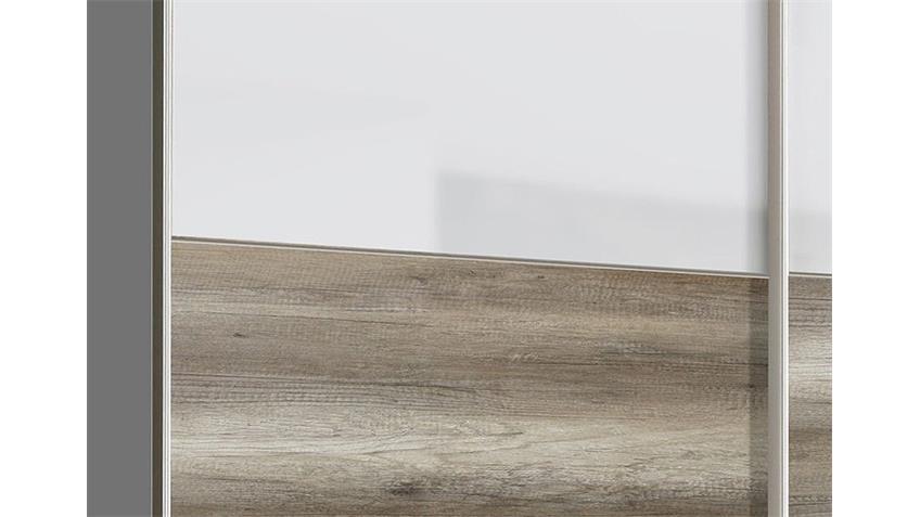 Schwebetürenschrank SCOOTER Weiß Hochglanz und Eiche Antik
