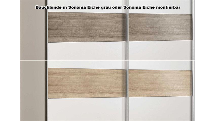 Schwebetürenschrank SCOOTER Weiß und Sonoma Eiche grau