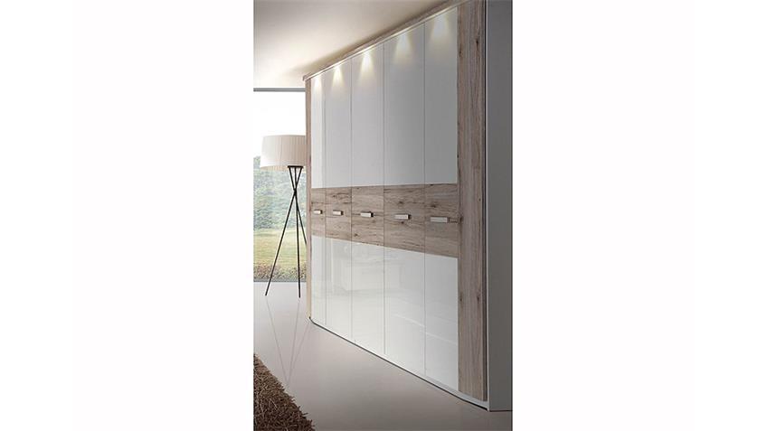 schlafzimmerset ii rondino sandeiche und wei hochglanz. Black Bedroom Furniture Sets. Home Design Ideas
