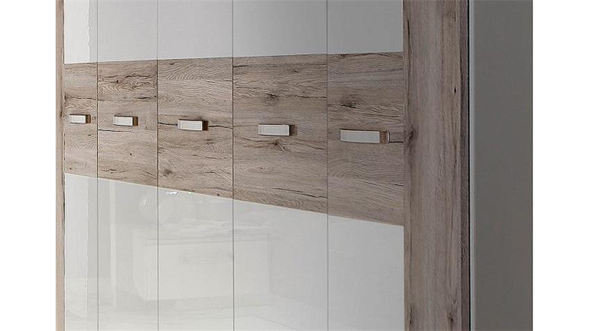 Kleiderschrank RONDINO Sandeiche und Weiß Hochglanz inkl.LED