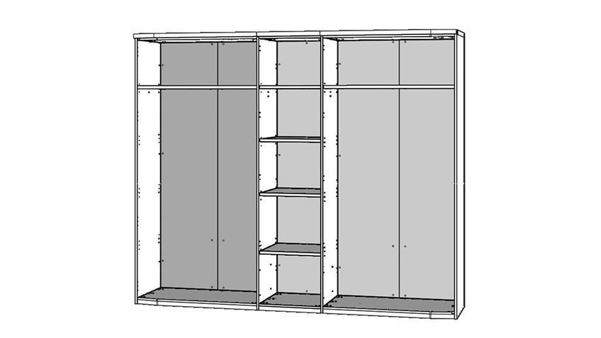 Kleiderschrank RONDINO in Sandeiche und weiß Hochglanz mit LED 250 cm